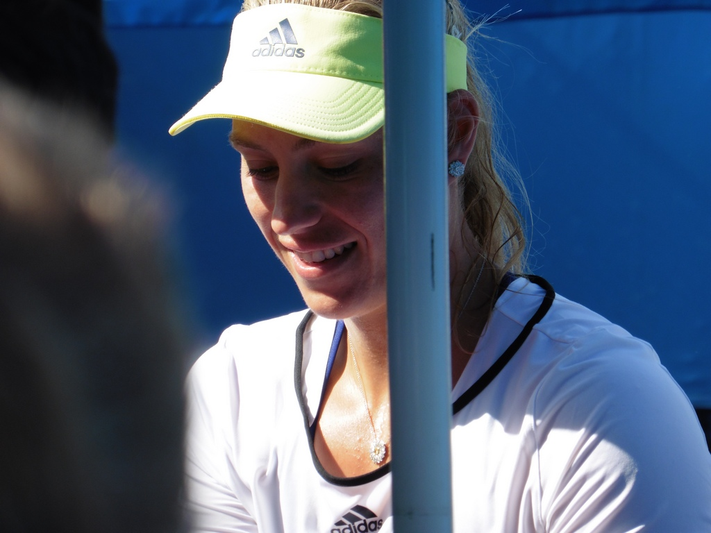 Kerber after warm-up